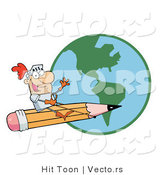 Vector of Earth Behind Freelance Knight Flying on a Giant Pencil in the Sky by Hit Toon