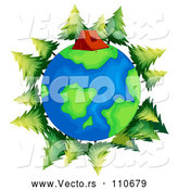 Vector of Earth Globe with a Tent and Evergreen Trees by Graphics RF