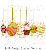 Vector of Easter Eggs Hanging from Strings by BNP Design Studio