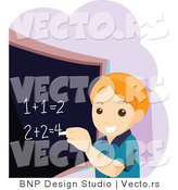 Vector of Educated School Boy Doing Math Equations on a Chalk Board by BNP Design Studio