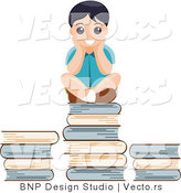 Vector of Educated School Boy Sitting on Stack of Books by BNP Design Studio