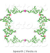 Vector of Elegant Green Vines with Pink Stars and Colorful Flowers - Border Background Design by Bpearth