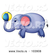 April 9th, 2018: Vector of Elephant Playing with a Ball by Graphics RF