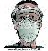 Vector of Emergency Medical Worker in a Protective Suit and Mask by Dero