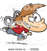 Vector of Energetic Cartoon Wind up Boy Running by Toonaday