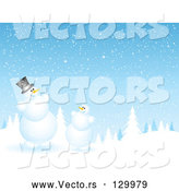 Vector of Evergreen Forest Flocked in Snow on a Snowing Night by KJ Pargeter