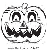 Vector of Evil Carved Halloween Pumpkin Black and White by Andy Nortnik
