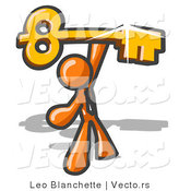 Vector of Excited Orange Guy Holding up a Large Golden Skeleton Key by Leo Blanchette