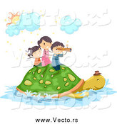 Vector of Excited Stick Kids Riding on a Turtle by BNP Design Studio