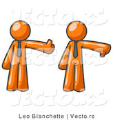 Vector of Expressive Orange Business Guy Giving the Thumbs up Then the Thumbs down by Leo Blanchette