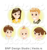 Vector of Faces of a Young Mother, Father and Their 3 Children - Digital Collage Sheet by BNP Design Studio