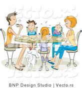 Vector of Family of 5 Eating at Dinner Table by BNP Design Studio
