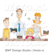 Vector of Family Singing Religious Music Together at Church by BNP Design Studio