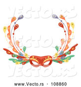 Vector of Fancy Eye Face Mask with Feathers by BNP Design Studio