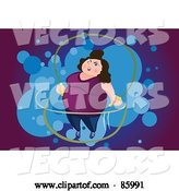 Vector of Fat Lady Jumping Rope, over Purple and Blue by Mayawizard101
