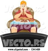 Vector of Fat Red Haired White Guy Binge Eating in Front of a Tv by BNP Design Studio
