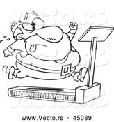 Vector of Fat Santa Running on a Treadmill - Outlined Version by Toonaday
