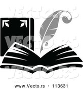 Vector of Feather Quill Pen Writing in a Book or Journal - Grayscale Theme by Vector Tradition SM