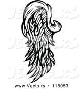 Vector of Feathered Wing - Black Lineart by Chromaco