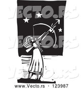 Vector of Female Archer Aiming at the Stars Black and White Woodcut by Xunantunich