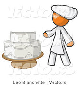 Vector of Female Orange Chef Beside Wedding Cake by Leo Blanchette