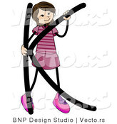 Vector of Female Stick Kid Alphabet Letter K by BNP Design Studio