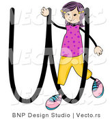 Vector of Female Stick Kid Alphabet Letter W by BNP Design Studio