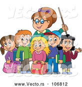 Vector of Female Teacher and Her Students by Visekart