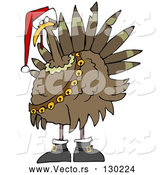 Vector of Festive Turkey Bird in a Santa Hat, Boots and Jingle Bells by Djart