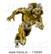 Vector of Fierce Cartoon Lion Man Mascot Running Upright by AtStockIllustration
