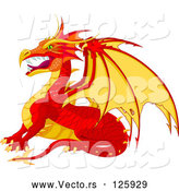 Vector of Fierce Cartoon Red and Yellow Dragon in Profile by Pushkin
