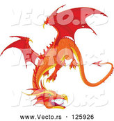 Vector of Fierce Flying Orange Dragon by Pushkin