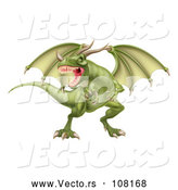Vector of Fierce Green Dragon with a Horned Nose by AtStockIllustration