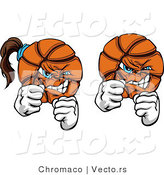 Vector of Fighting Male and Female Basketballs Mascots by Chromaco