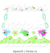 Vector of Fish with Flowers and Vines - Border Background by Bpearth