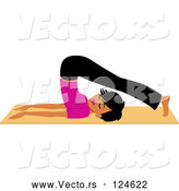 Vector of Fit Black Lady Doing a Yoga Plough Pose by Monica