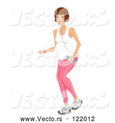 Vector of Fit Brunette Pregnant Woman Jogging with Water and an Mp3 Player by BNP Design Studio