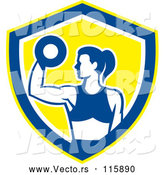 May 4th, 2018: Vector of Fit Lady Doing Bicep Curls with a Dumbbell in a White Blue and Yellow Shield by Patrimonio