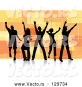 Vector of Five Black Silhouetted Dancers over a Retro Orange Square Background on a White Dance Floor by KJ Pargeter