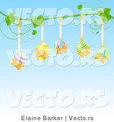 Vector of Five Painted Easter Eggs Hanging from a Vine Against Blue Background by Elaineitalia