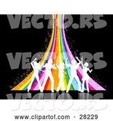 Vector of Five White Silhouetted People Dancing in Front of a Sparkly Rainbow over a Black Background by KJ Pargeter