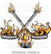 Vector of Flames Raising up from Two Crossed Hockey Sticks and a Puck by Chromaco