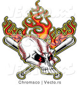 Vector of Flaming Baseball Skull over Crossed Bats in the Background by Chromaco