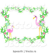 Vector of Flamingos Within Vines and Flowers - Border Design Element by Bpearth