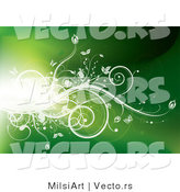Vector of Flare of Light with White Vines and Butterflies on Green Background Design by MilsiArt