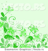 Vector of Floral Background Border Design with Green Flowers by Vector Tradition SM