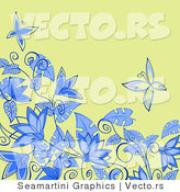 Vector of Floral Background Design with Blue Flowers and Butterflies over Green by Vector Tradition SM
