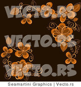 Vector of Floral Background Design with Brown Flowers by Vector Tradition SM