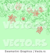Vector of Floral Background Design with Red Flowers over Green by Vector Tradition SM
