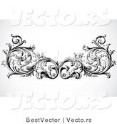 Vector of Floral Border Design Element - Black and White Version by BestVector